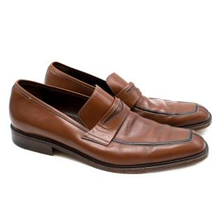 A Testoni Leather Tanned Loafers