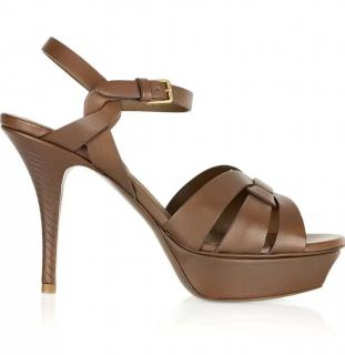 Yves Saint Laurent brown leather Tribute heeled sandals