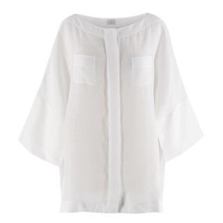 Agnona White Linen Button Up Blouse