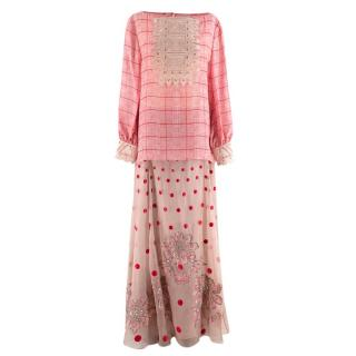 Temperley London Pink & Nude Houndstooth Embroidered Top & Skirt