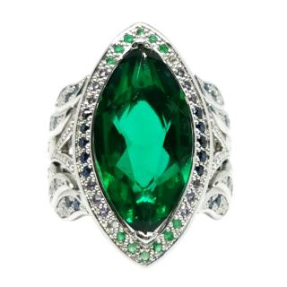 St Diamond Tourmaline, Sapphire, Emerald & Diamond 18c White Gold Ring