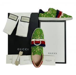 Gucci Green Lace Ace Crystal Sneakers Trainers