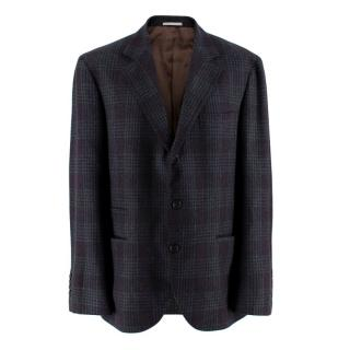 Brunello Cucinelli Checked Wool Men's Single Breasted Jacket