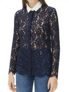 Sando Navy Celia Lace Shirt