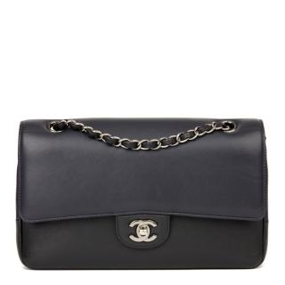Chanel medium double classic bag in navy/black calfskin