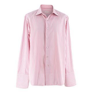Liguori Men's Hand Tailored Pink Striped Skirt