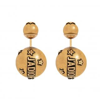 Christian Dior tribales J'adior aged gold tone earrings