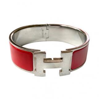 Hermes red enamel and platinum Clic Clac bracelet