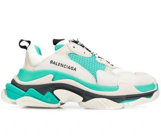 Balenciaga turquoise and white Triple S trainers