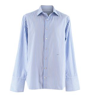 Donato Liguori Blue & White Striped Button Up Shirt