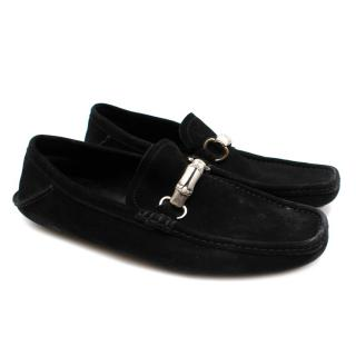 Gucci Black Suede Moccasin Loafers with Bamboo Horsebit