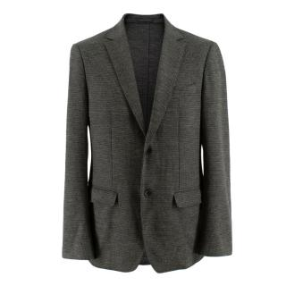 Salvatore Ferragamo Grey Wool Knit Single Breasted Blazer