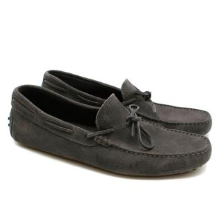Tod's Grey Suede Moccasin Loafers
