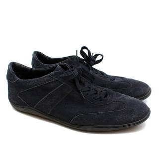 Tod's Navy Blue Suede Trainers