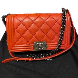 Chanel red thick stitch medium boy bag