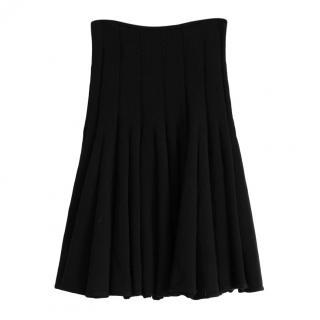 Alaia black wool pleated mid-length skirt