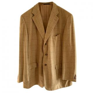 Loewe Beige Check Single Breasted Tailored Wool & Cashmere Jacket