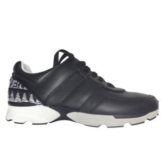 Chanel Black Leather & Boucle Tweed Sneakers