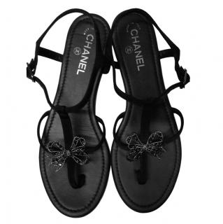 Chanel Black Satin Crystal Bow Embellished Sandals
