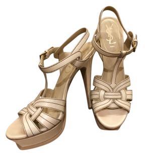 Yves Saint Laurent tribute beige contrast stitch heeled sandals