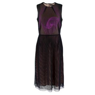 Marios Schwab Black Mesh Embroidered Dress