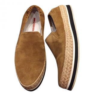 Prada Tan Nubuck Espadrille slip-on Sneakers