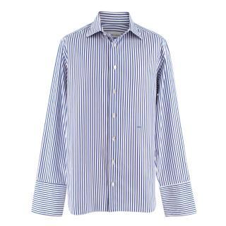 Donato Liguori White & Thin Blue Striped Bespoke Shirt
