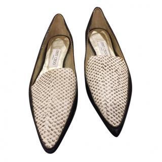 Jimmy Choo Patent Leather/Watersnake Ballerinas