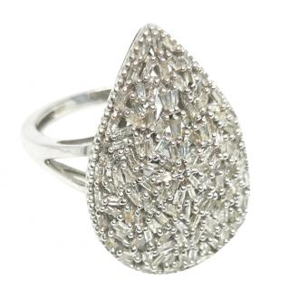 Bespoke Silver Diamond Pear Shaped Cluster Ring