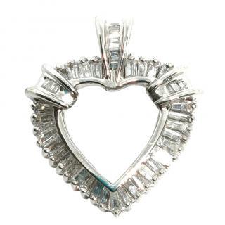 Bespoke White Gold Heart Shaped Diamond Pendant