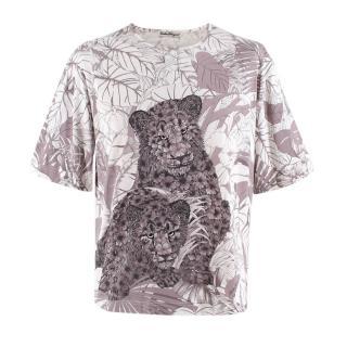 Salvatore Ferragamo Floral Panther T Shirt