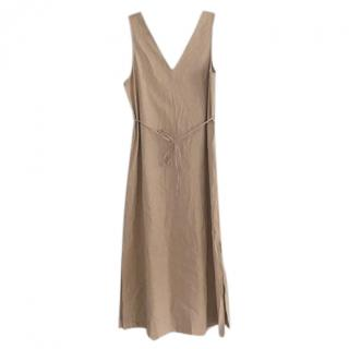 Theory Beige Linen Sleeveless Midi Dress