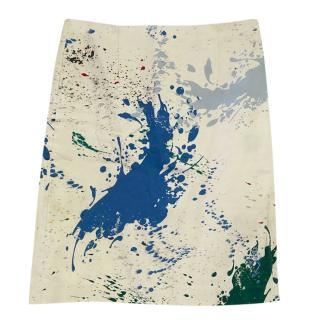 Tibi Ivory Paint Splash Fitted Skirt