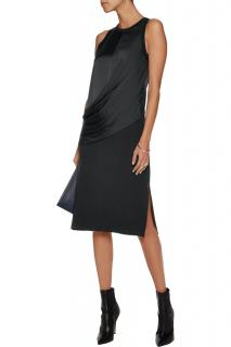 DKNY Black Silk Crepe Blend Midi Dress