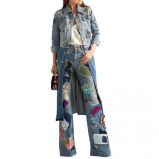 Roberto Cavalli Two-tone Patchwork Denim Embellished Longline Coat
