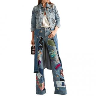 Roberto Cavalli Two-tone Patchwork Denim Embellished Longline Coat