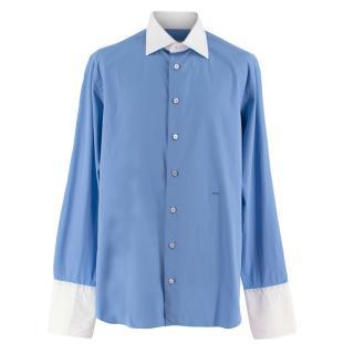 Donato Liguori White Collared Blue Bespoke Tailored Shirt