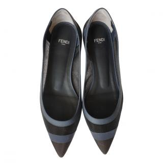 Fendi Leather & Mesh Pointed Toe Flats