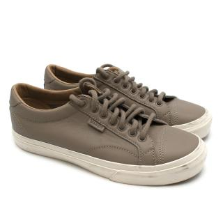 Vans Taupe Lace up Leather Trainers