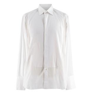 Brioni White Cotton Tuxedo Shirt