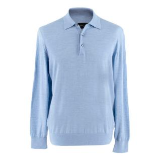 Bel y Cia Blue Cashmere Blend Long Sleeve Polo