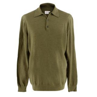 Sunspel Green Knit Merino Wool Long Sleeve Polo