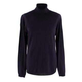 Escada Dark Purple Knitted Turtleneck