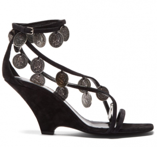 Saint Laurent Black Suede Kim Medallion Sandals