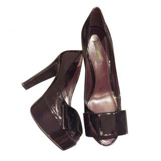 Louis Vuitton brown platform patent leather pumps