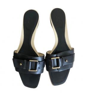 Gucci Black Vintage Buckle Detail Sandals