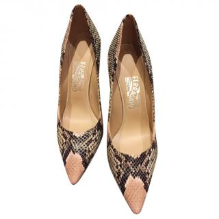 Salvatore Ferragamo rose quartz snakeskin pumps