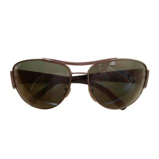 Ray Ban Grey Aviator Sunglasses