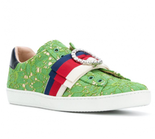 Gucci Green Lace Ace Sneakers