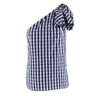Milly Gingham One Shoulder Top
